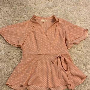 Peplum polka dot blouse